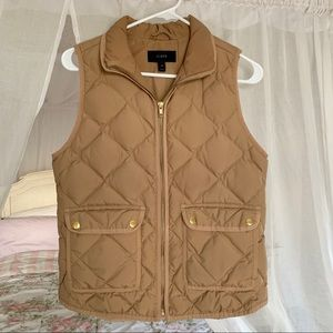 J Crew Quilted Tan Puff Vest Size XS **NBW**